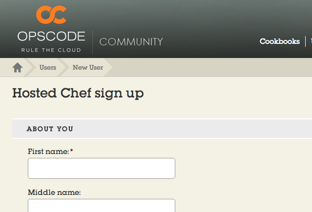 Hosted Chef Signup page